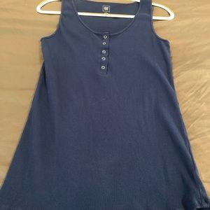 Gap | Ribbed Blue Sleeveless Henley, Size L (Mat)